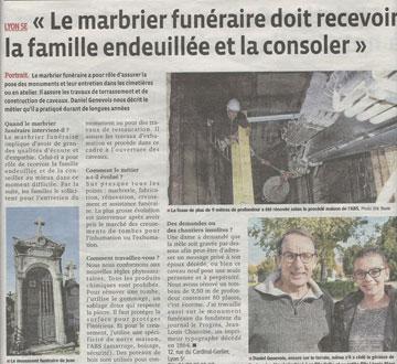 Revue de presse : Le Progrès de Lyon nous consacre une page pour la Toussaint !